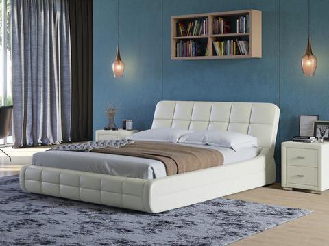 Кровать двуспальная Corso 6 Экокожа молочный перламутр