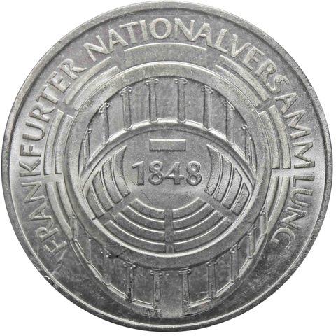 5 марок. 125 лет со дня открытия Национального Собрания во Франкфурте. Германия. (G). Серебро. 1973 год. AU