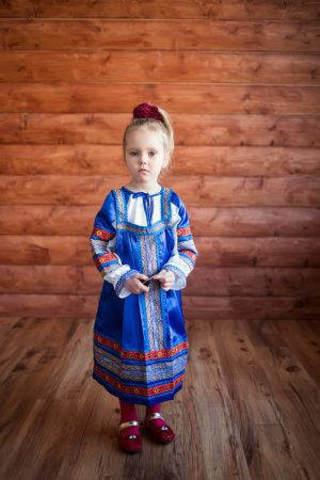 Русский народный сарафан для девочки «Алёнушка» (синий)