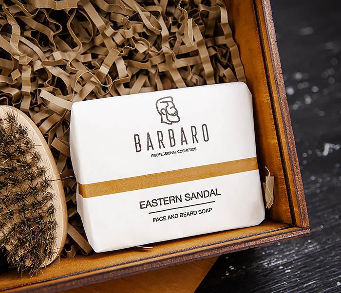 Мужской набор «BARBARO» из мыла, масла для бороды и щетки фото 02