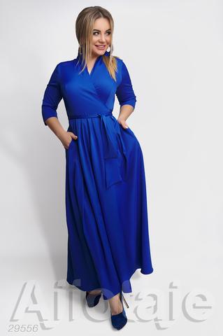 Платье в пол цвета электрик с запахом