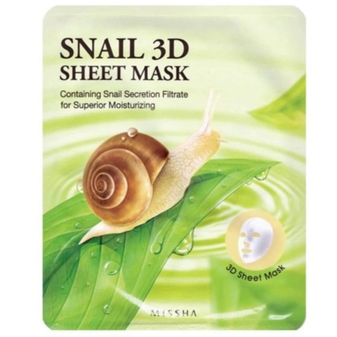 Missha Healing Snail 3D Sheet Mask 3D-маска с муцином улитки