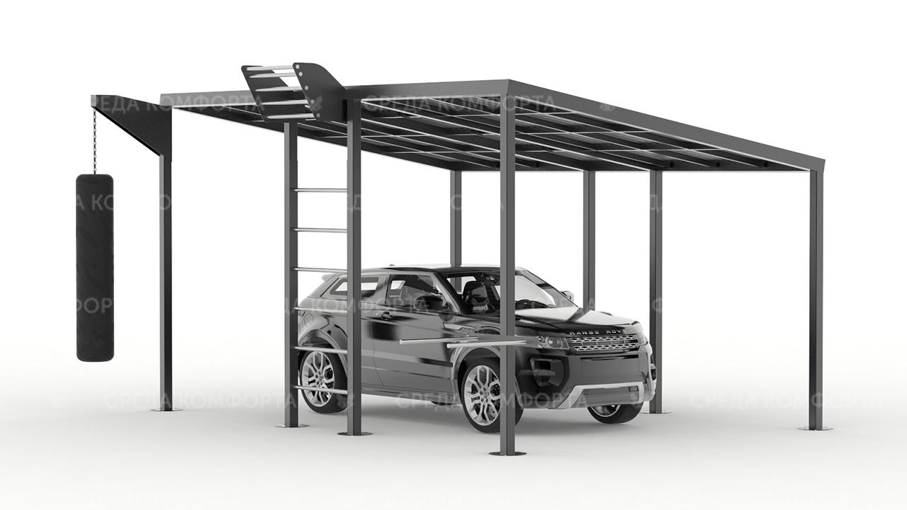 Навес для автомобиля с элементами спортивной площадки AVNVS0050
