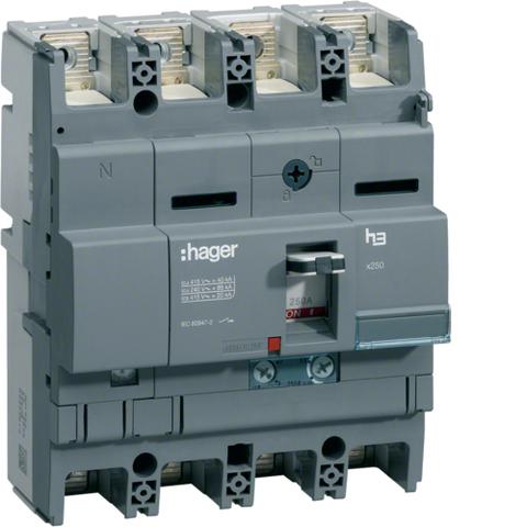 Автоматический выключатель, x250, TM рег. Im=13..6In, 4P4D Icu=40kA при Ue=415В,In=125-80A, Ue до 440В АС