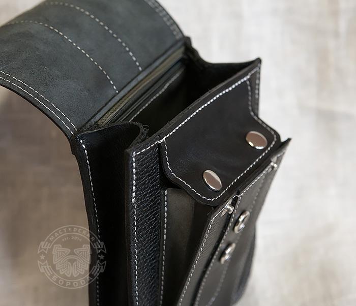 BAG379-1 Мужская сумка на пояс из натуральной кожи, ручная работа фото 05