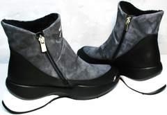 Купить женские зимние сникерсы без шнурков Jina 7195 Leather Black-Gray