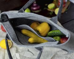 Войлочная сумка Gmakin Verona серая с черными ручками