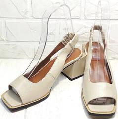 Стильные женские босоножки на каблуке с открытым носом Brocoli H150-9137-2234 Cream.
