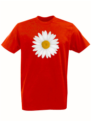 Футболка с принтом Цветы (Ромашки) красная 001