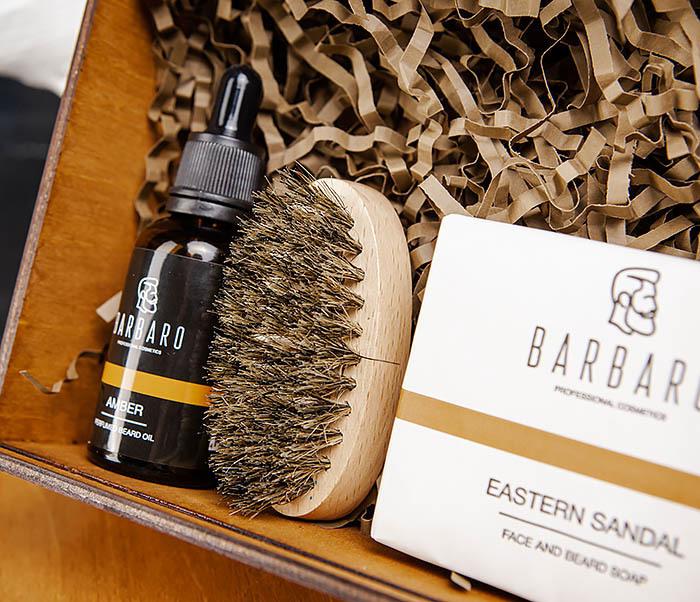 Мужской набор «BARBARO» из мыла, масла для бороды и щетки фото 03