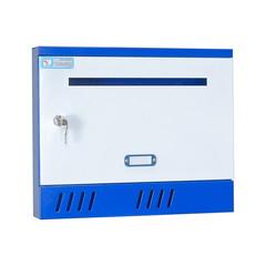 Ящик почтовый ЯП-3 1-секционный металлический белый/синий (370 x 70 x 310 мм)