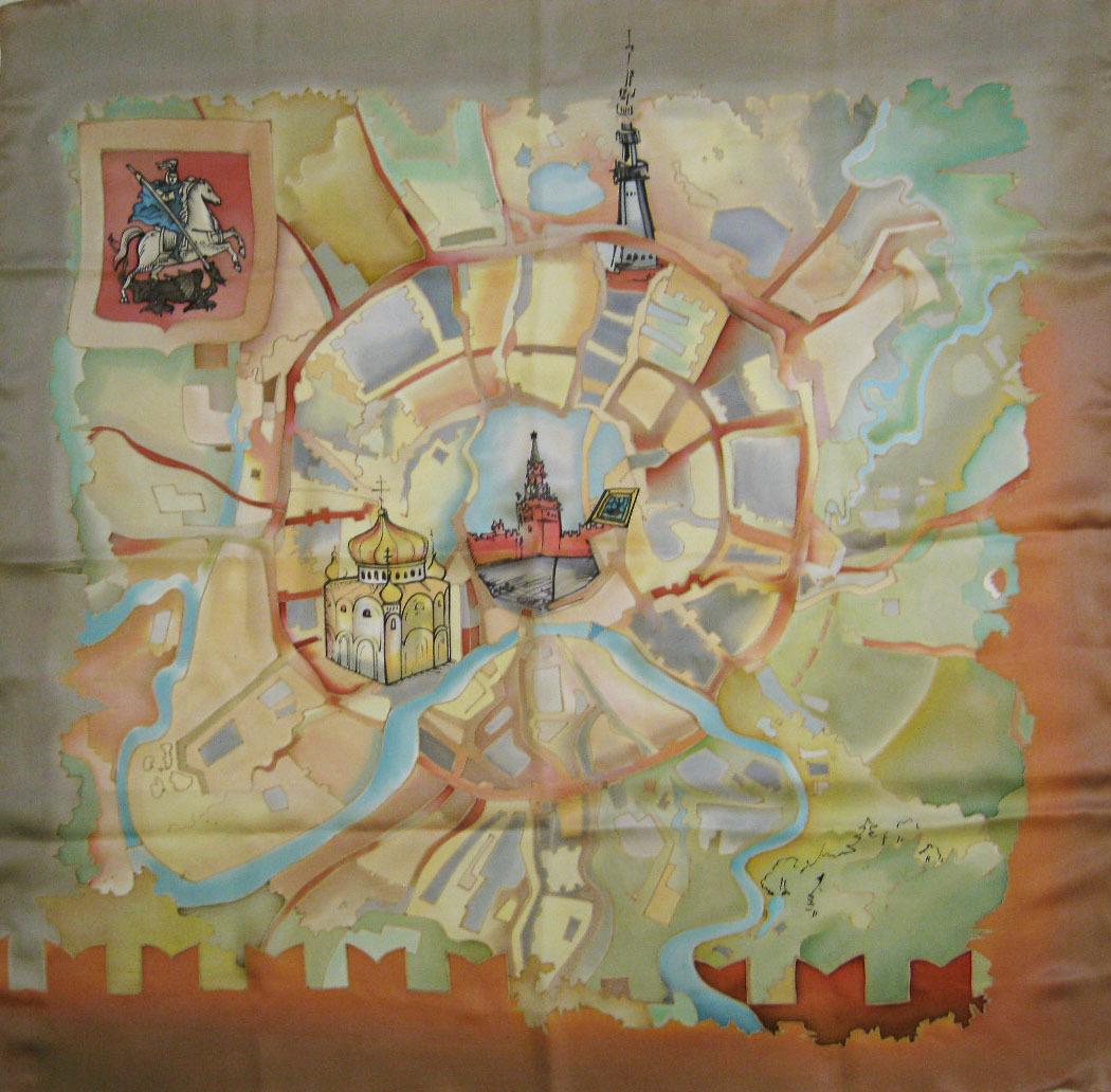Шелковый платок батик Карта Москвы С-60