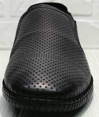 Перфорированные туфли мокасины черные смарт кэжуал мужской Ridge Z-291-80 All Black.