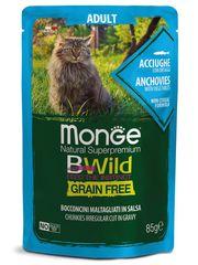 Паучи для взрослых кошек, Monge Cat BWild GRAIN FREE, с анчоусами и овощами