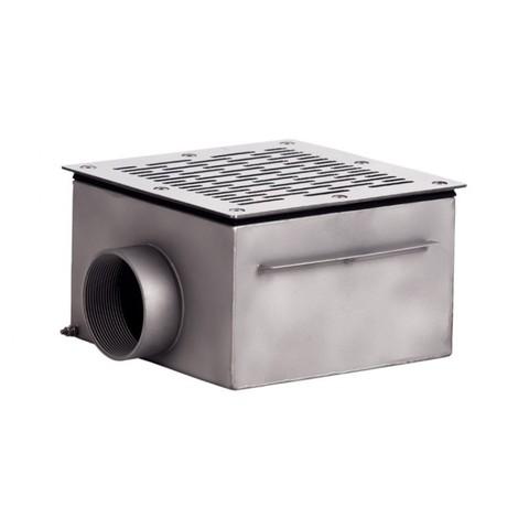 Донный слив квадратный 350х350х150 нержавеющая сталь AISI-304 внутреннее подключение 3