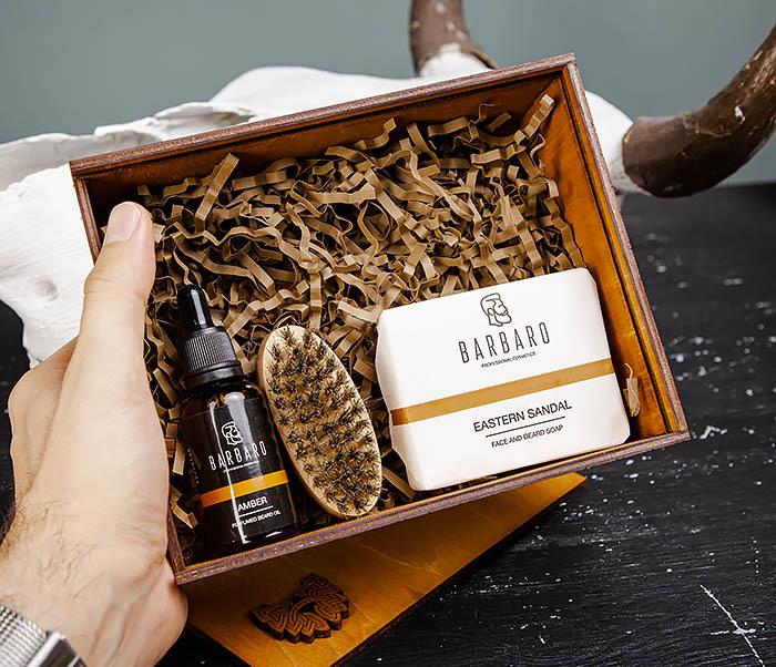Мужской набор «BARBARO» из мыла, масла для бороды и щетки фото 04