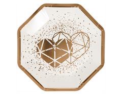 Тарелки бумажные, LUX, Сердца, ваниль (Свадьба), 25 см, 6 шт, 1 уп.