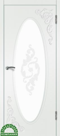 Дверь Камелия 2 (белый шёлк, остекленная ПВХ), фабрика Зодчий