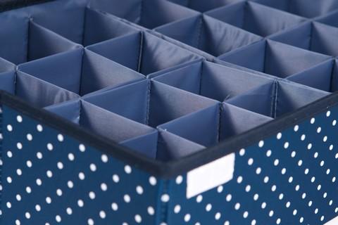 Большой складной органайзер, 24 ячейки, 46*31*12 см (темно-синий в горошек)