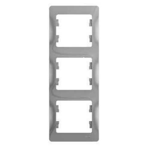 Рамка на 3 поста, вертикальная. Цвет Алюминий. Schneider Electric Glossa. GSL000307
