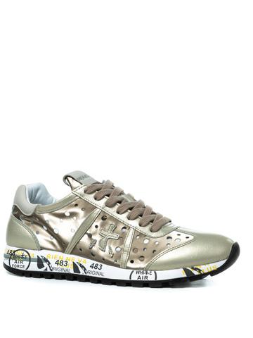 Комбинированные золотые кроссовки Premiata Lucy-D 3659 с перфорацией