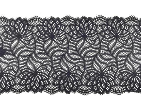Эластичное кружево, черное, 22,5см, (Арт: EK-2016), м