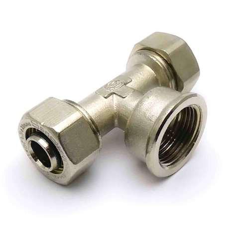 Тройник обжимной для металлопластиковых труб  20*3/4*20 внутренняя резьба SD Plus