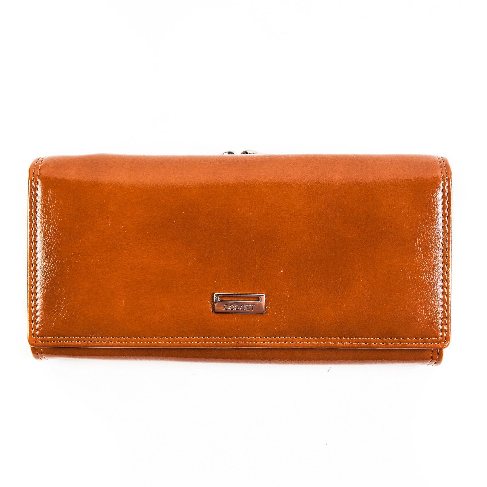 Стильный оранжевый женский кошелёк из из искусственной кожи с 3 большими отделениями, двойным отделением в отдельной монетнице, 2 потайными карманами, окошком для пропуска и 8 кармашками для пластиковых карт CS208-101D