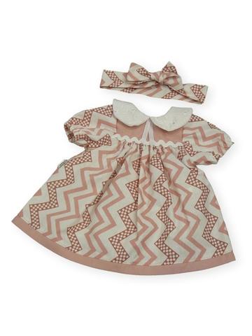 Платье с воротничком - Розовый / зигзаг. Одежда для кукол, пупсов и мягких игрушек.