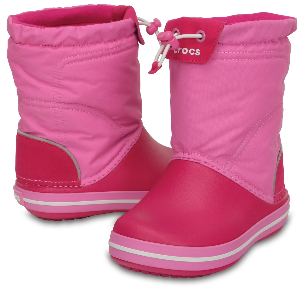 Детские зимние сапожки Crocs Kids' Crocband LodgePoint Boot Candy Pink/Party Pink