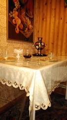 Скатерть прозрачная на кухонном столе