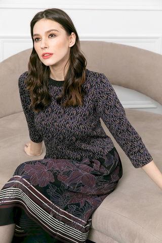Фото платье с юбкой ниже колен и топом из фактурной ткани - Платье З482-016 (1)