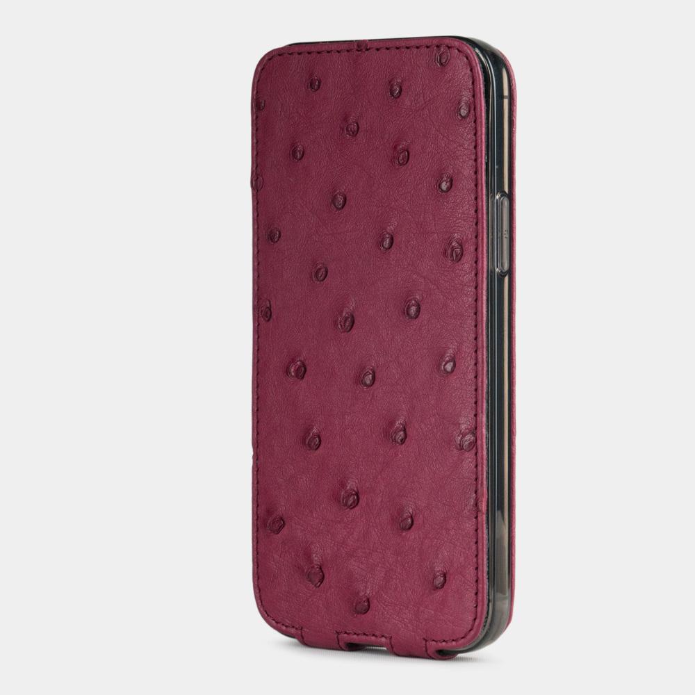 Чехол для iPhone 12/12Pro из натуральной кожи страуса,  цвета фуксии