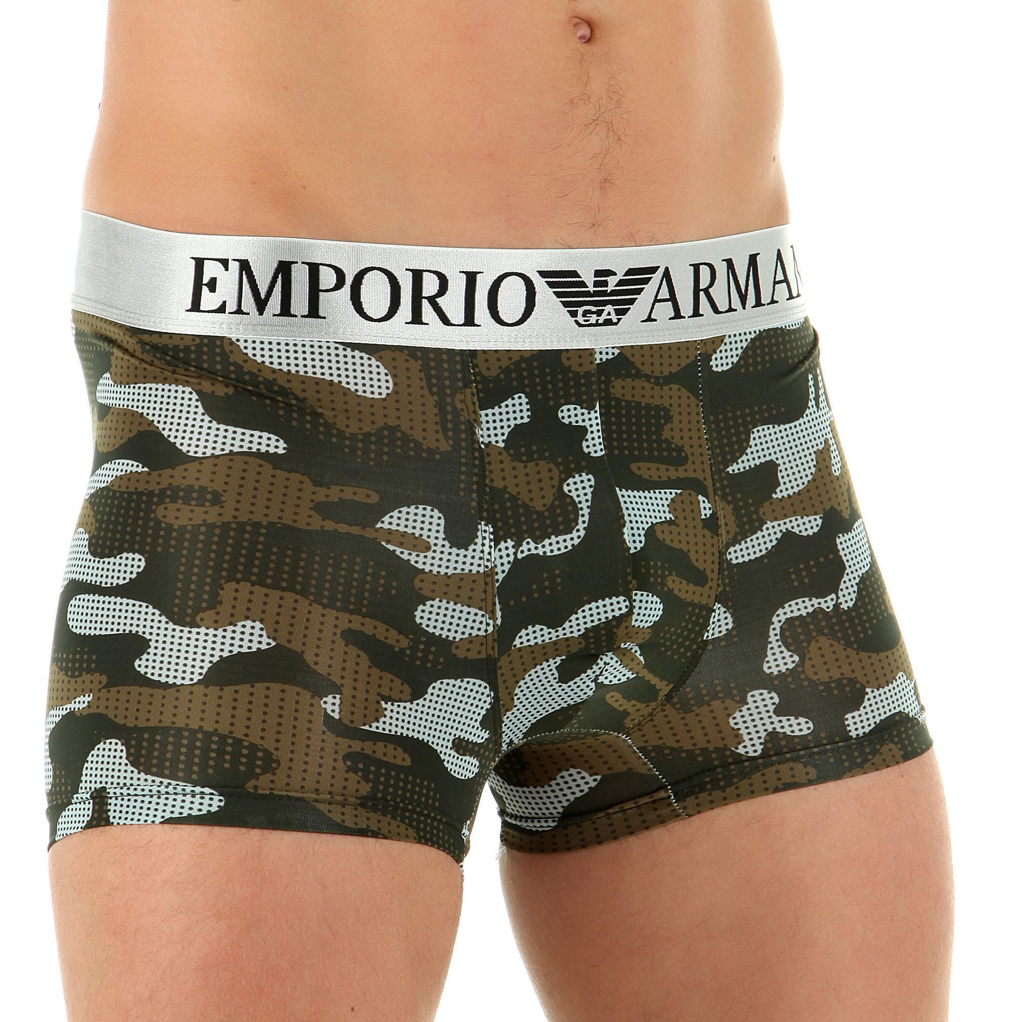 Мужские трусы боксеры зеленый камуфляж Emporio Armani Camo Green