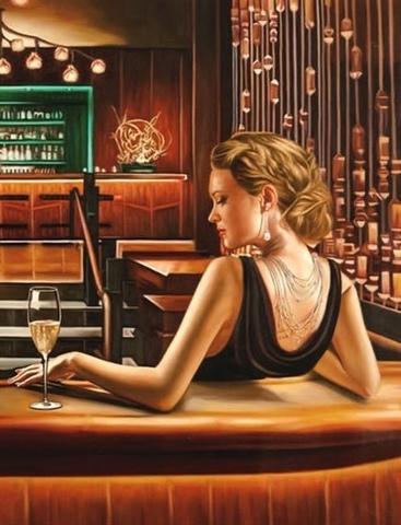 Алмазная Мозаика 40x50 Девушка в баре с бокалом (арт. SGA2338 )
