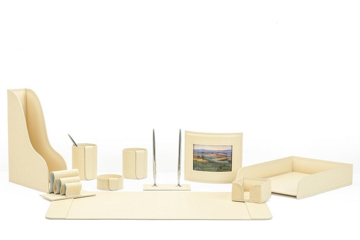 Настольный набор из кожи Treccia/слоновая кость 10 предметов