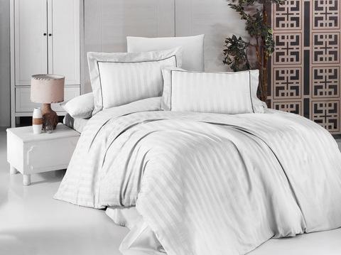 Комплект постельного белья DO&CO Сатин жаккард DELUX DRAWING Семейный цвет белый