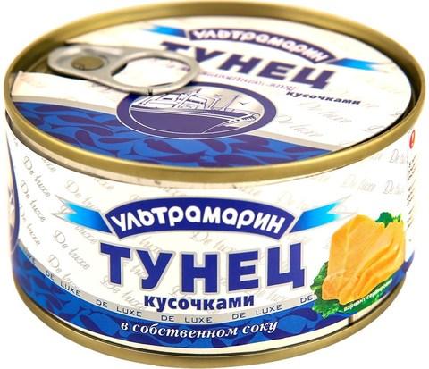 """Тунец """"Ультрамарин"""" кусочками в собственном соку 185г"""