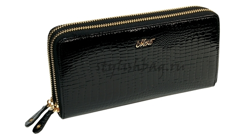 Женский кошелек-клатч 59049 черный на двух молниях Moro Jenny