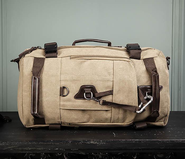 BAG479-2 Вместительная сумка рюкзак из ткани цвета хаки фото 02