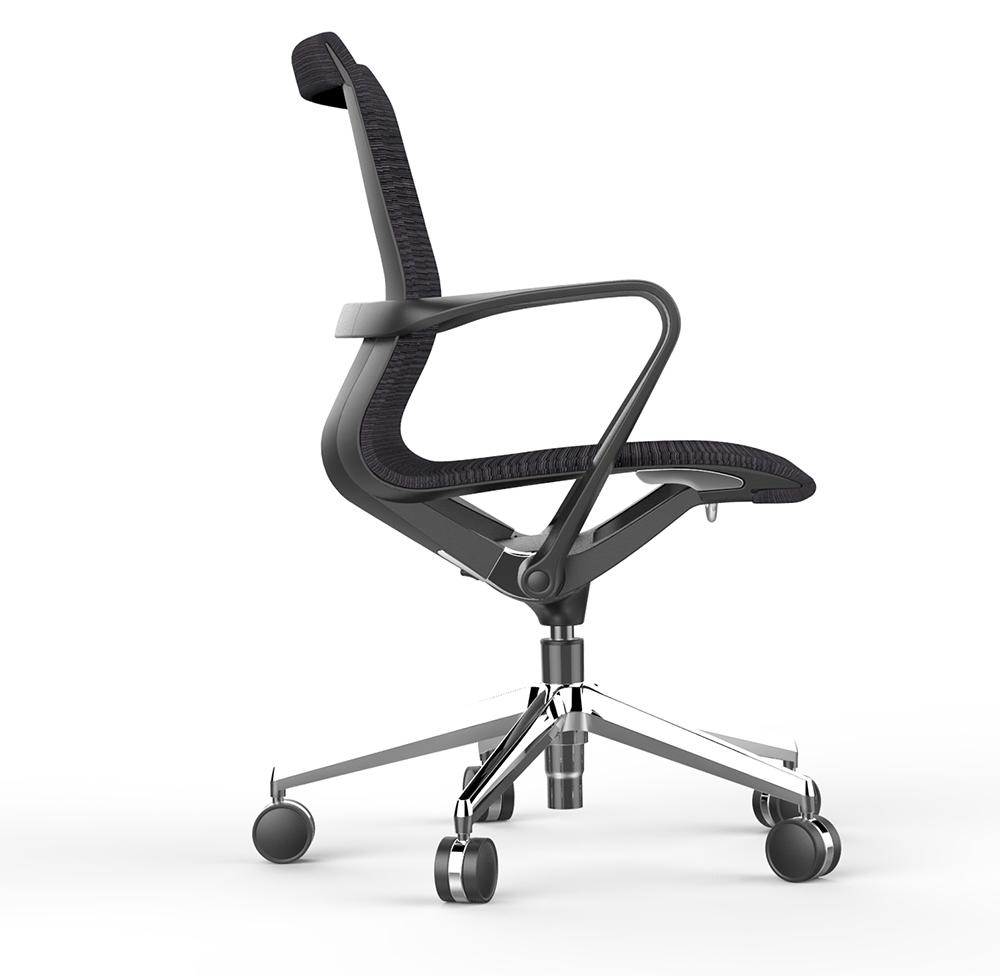 Офисное кресло Prov LB черная сетка, база хром - вид 3