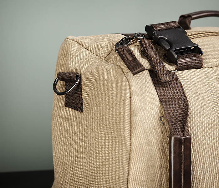 BAG479-2 Вместительная сумка рюкзак из ткани цвета хаки фото 03