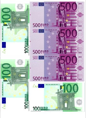 Печать на сахарной бумаге, Купюры Евро