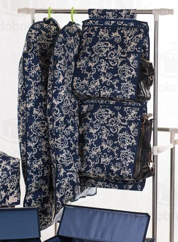 Чехол для средней одежды с прозрачной половиной, 60*100 см (темно-синий с узорами)