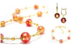 Комплект Примавера розово-золотистый (серьги на серебре, ожерелье, браслет)
