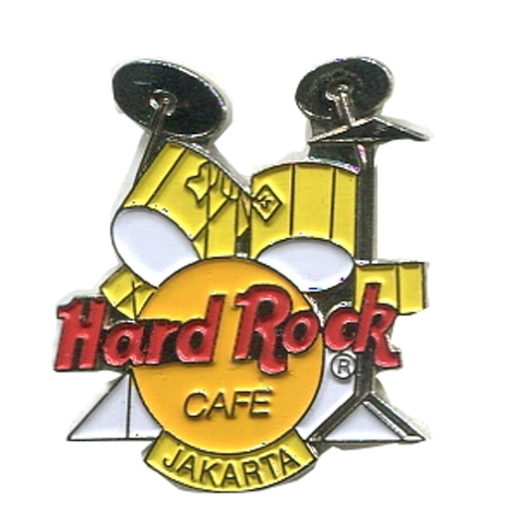 Значок Hard Rock Cafe - Jakarta - Drums - Yellow