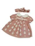 Платье с воротничком - Розовый / капли. Одежда для кукол, пупсов и мягких игрушек.