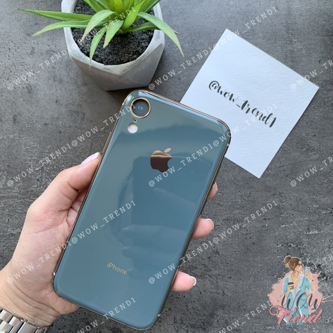 Чехол iPhone XR Glass Silicone Case Logo /forest green/
