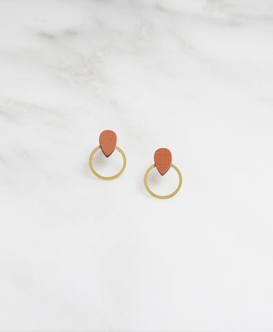 Серьги Raindrop Hoop Studs Burnt Orange