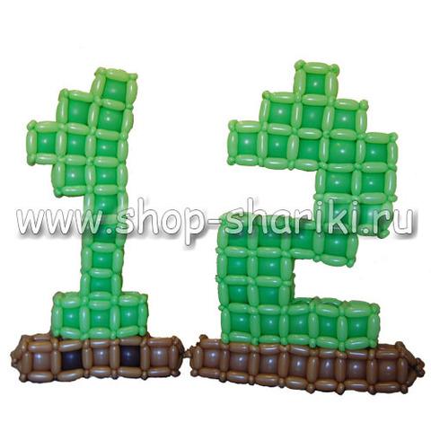 Цифра 12 из шаров в стиле Minecraft